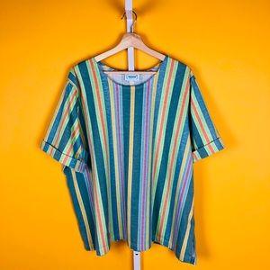 Vintage 90s Hip Hop Striped T Shirt Single Stitch Large